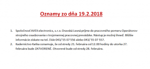 Oznamy 19.2.2018