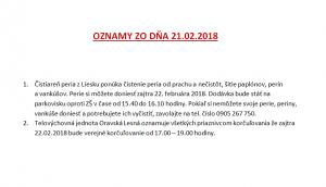 Oznamy 21.2.2018