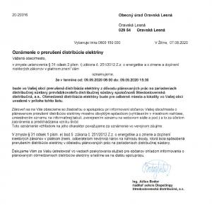 SSD prerušenie energie 09. 09. 2020