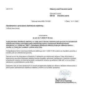 Prerušenie distribúcie elektriny 24. 11. 2020