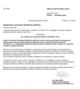 Oznámenie o prerušení distribúcie elektriny 02. 02. 2021
