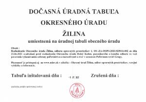 Dočasná úradná tabuľa Okresného úradu Žilina