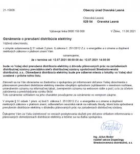Oznámenie o prerušení distribúcie elektriny 12. 07. 2021