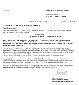 Oznámenie o prerušení distribúcie elektriny 13. 07. 2021
