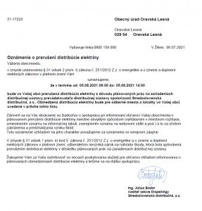 Oznámenie o prerušení distribúcie elektriny 05. 08. 2021(1)