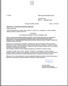 Prerušená distribúcia elektriny 24.8.2021