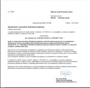 Prerušenie distribúcie elektriny 12.8.2021
