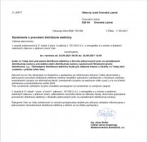 Prerušená distribúcia elektriny 24.9.2021
