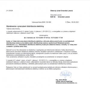 Oznámenie o prerušení distribúcie elektriny 15. 10. 2021