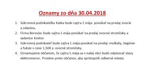 Oznamy 30.04.2018